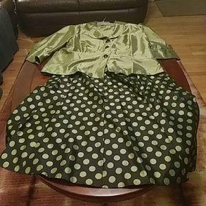 Beautiful , Eye Catching 2 piece Green Skirt Suit.